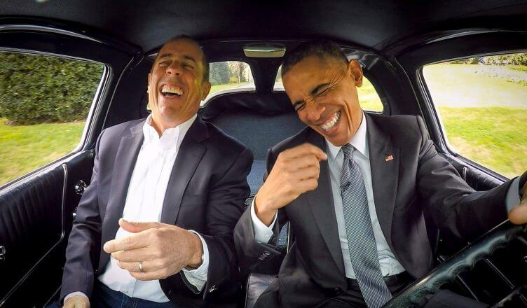 jerry seinfield with obama in comedians in cars branded content
