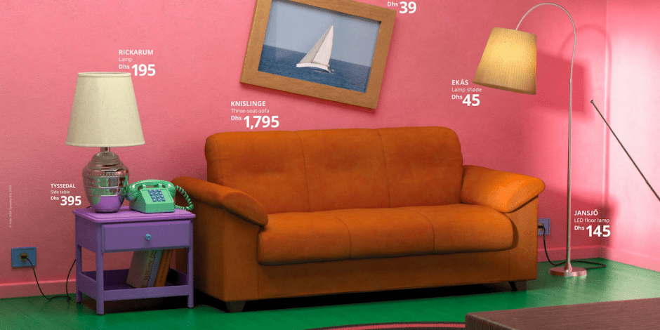 akea, it displays furniture in the living rooms of Friends and The Simpsons
