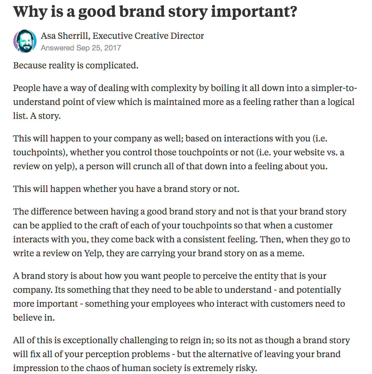 Quora answer brand story