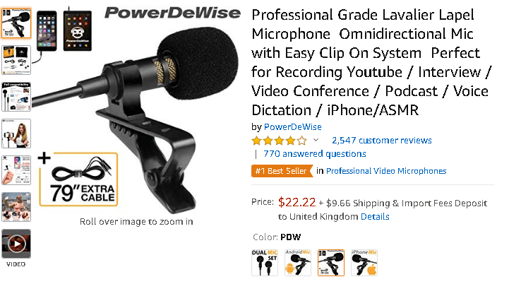 professional lavaller for social media videos amazon
