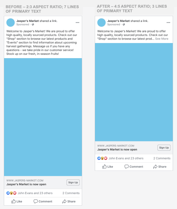 Facebook's new ratio sizes for ads
