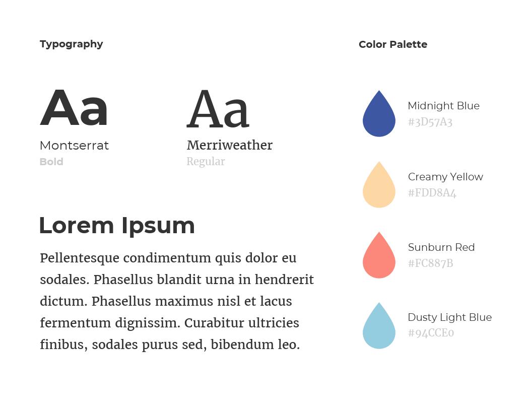 personality typography lorem ipsum color palette