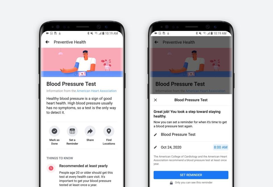 Facebook new preventive health tool october social media news