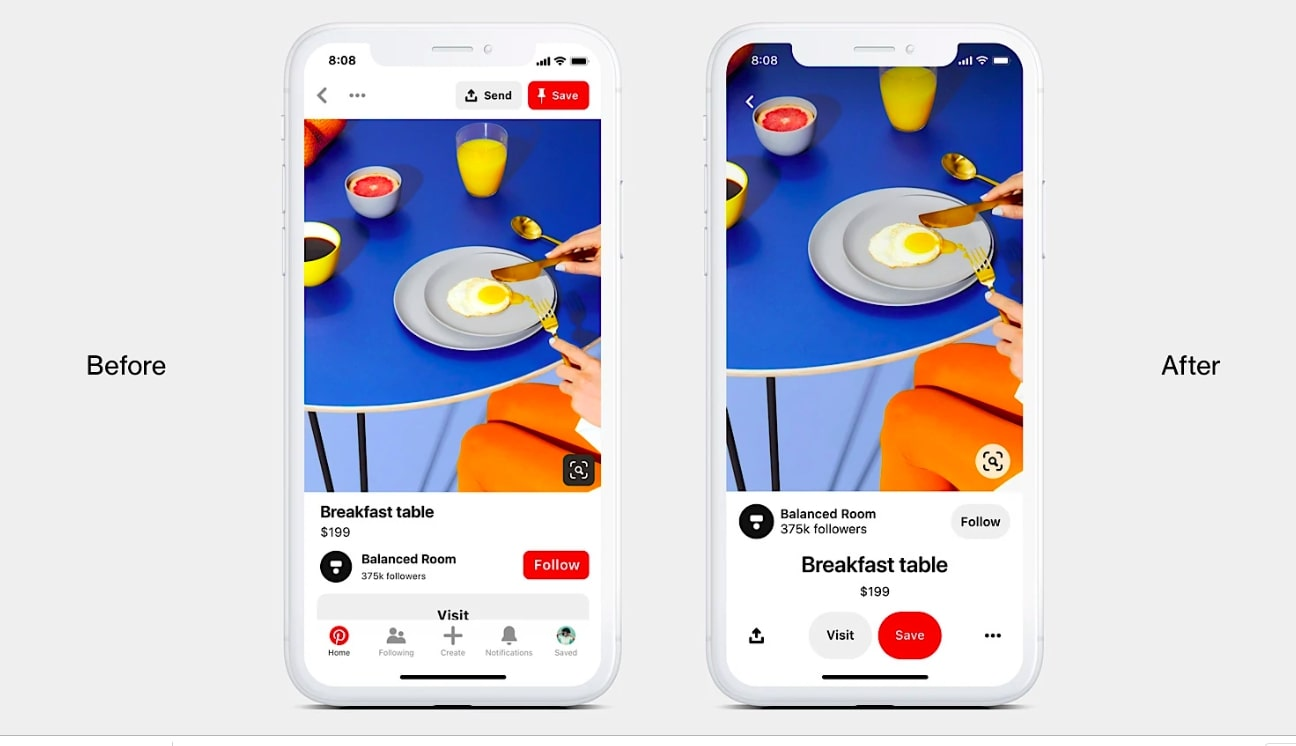 Pinterest launches new look for mobile app