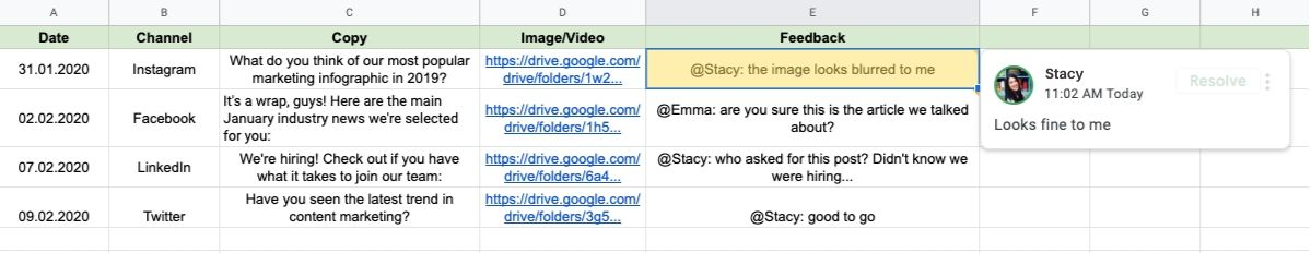 Content planning using Google Spreadsheets