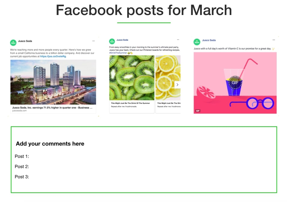 Keynote presentation of Facebook posts for March
