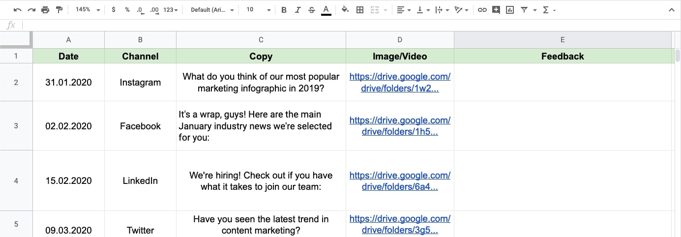 Spreadsheets with social media work